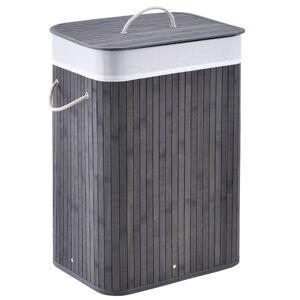 Bambusový koš na prádlo Curly 72 litrů šedý s vakem na prádlo a rukojetí