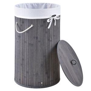Bambusový koš na prádlo Curly-Round šedý s vakem na prádlo a rukojetí, 55 l