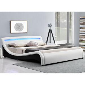 """Čalouněná postel,, Malaga """"180 x 200 cm s LED na čelní desce - bílá"""