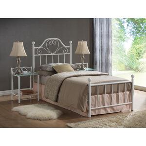 Kovová postel LIMA 90 x 200 cm barva bílá